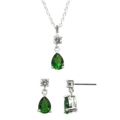 Sparkle Allure™ Clear & Green Cubic Zirconia and Crystal Necklace & Earring Set