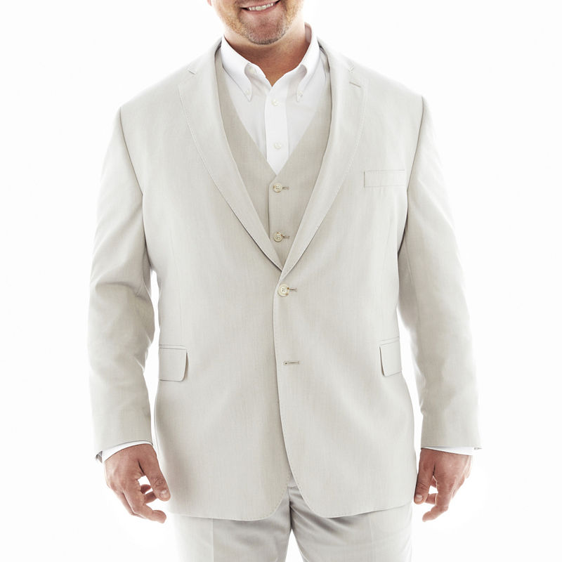 Men's Vintage Style Suits, Classic Suits J.F. J Ferrar End on End Suit JacketBigTall Mens Size 58 Regular White $76.00 AT vintagedancer.com
