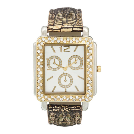 Womens Square Crystal-Accent Glitz Strap Watch