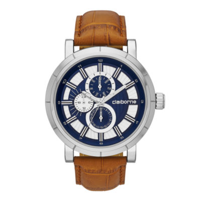 Claiborne® Mens Brown and Silver-Tone Croc-Pattern Leather Strap Watch