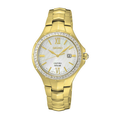 Seiko® Womens Coutura Solar Diamond Bezel Gold Bracelet Watch SUT242