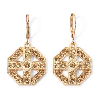 Monet® Brown Crystal Gold-Tone Drop Earrings