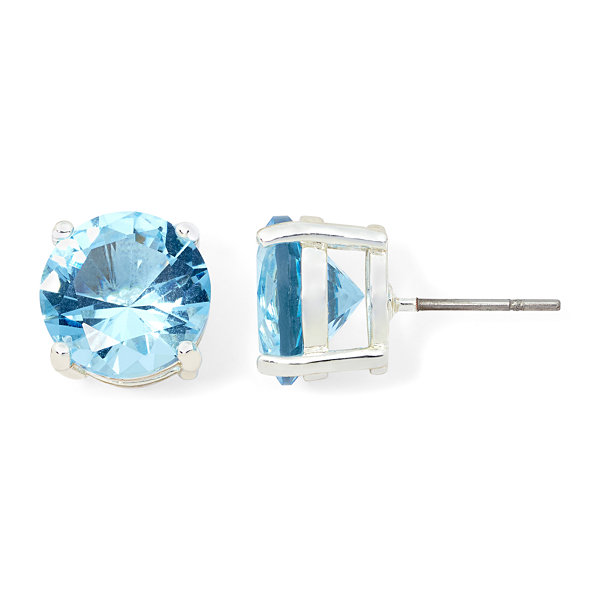 Monet Jewelry Monet Blue Crystal Silver-Tone Stud Earrings uHbBsk