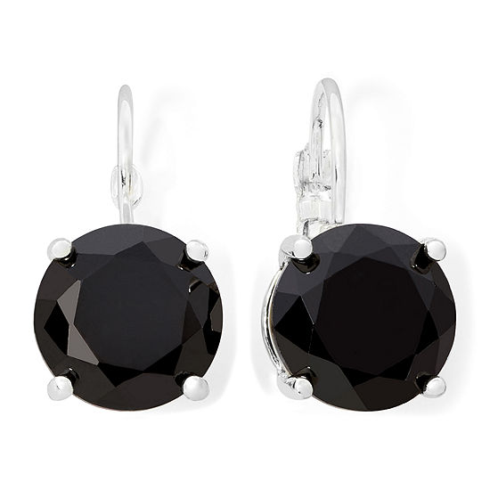 Monet® Silver-Tone Black Crystal Drop Earrings