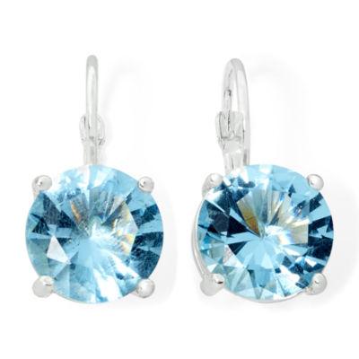 Monet® Silver-Tone Blue Crystal Drop Earrings