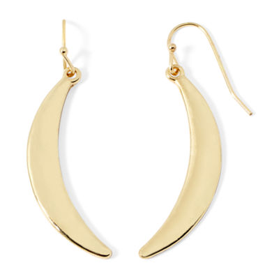 Liz Claiborne® Gold-Tone Crescent Drop Earrings