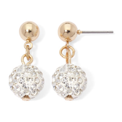 Monet® Double Drop Pave Ball Earrings