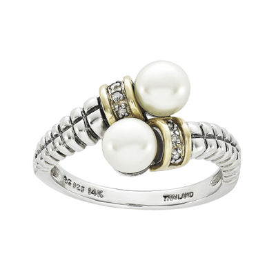 Shey Couture Cultured Freshwater Pearl and Diamond-Accent Sterling Silver and 14K Gold Bypass Ring
