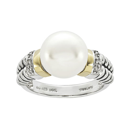 Shey Couture Cultured Freshwater Pearl and Diamond-Accent Sterling Silver and 14K Gold Ring