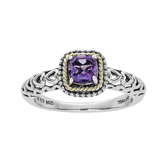 Shey Couture Genuine Amethyst Sterling Silver and 14K Gold Ring