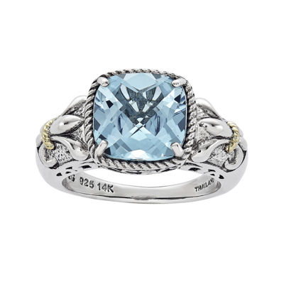 Shey Couture Genuine Blue Topaz Sterling Silver with 14K Yellow Gold Ring