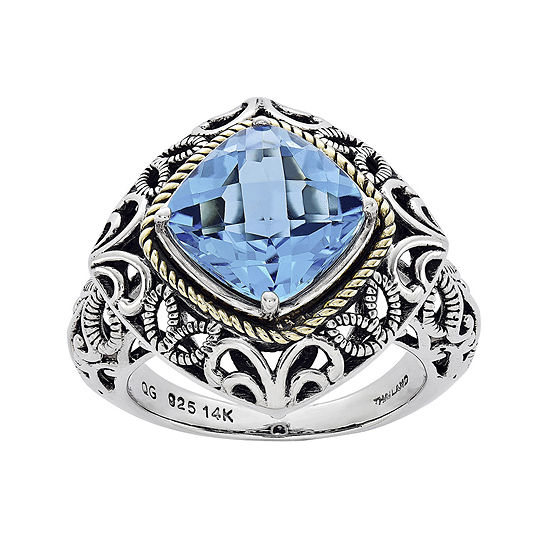 Shey Couture Genuine Sky Blue Topaz Sterling Silver 14k Gold Ring