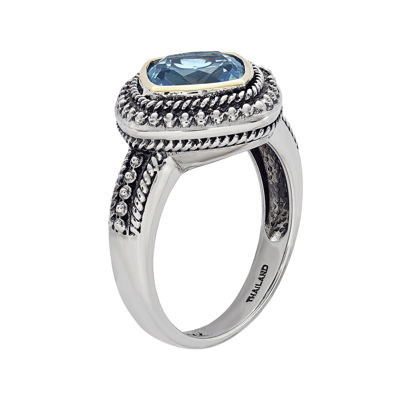 Shey Couture Genuine Blue Topaz Sterling Silver 14k Gold Ring