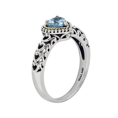 Shey Couture Genuine Blue Topaz Sterling Silver and 14K Yellow Gold Heart Ring