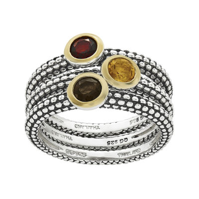 Shey Couture Genuine Multi-Gemstone Sterling Silver Stackable Rings