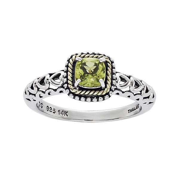 Fine Jewelry Genuine Peridot and White Topaz Sterling Silver 3-Stone Ring OQfJ53Oaiy