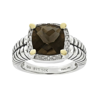 Shey Couture Smoky Quartz and Diamond-Accent Sterling Silver Antiqued Ring