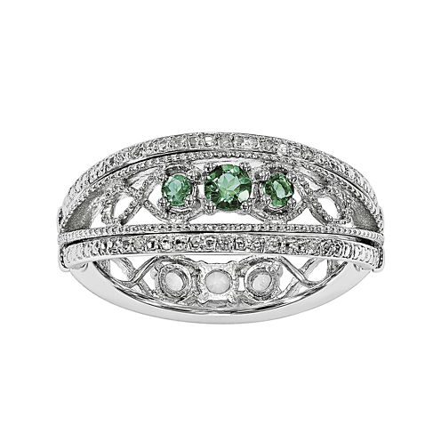 Lab-Created Emerald and White Sapphire Sterling Silver Flip Ring