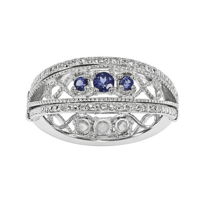 Lab-Created Blue and White Sapphire Sterling Silver Flip Ring
