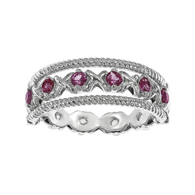Lab-Created Ruby and White Sapphire Sterling Silver Flip Ring