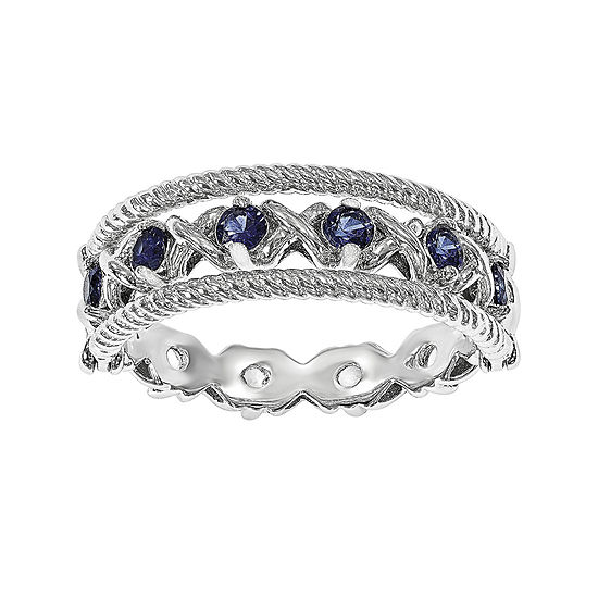 Personally Stackable Lab Created Blue And White Sapphire Sterling Silver Stackable Flip Ring