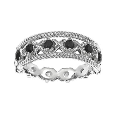 Personally Stackable Lab-Created Black and White Sterling Silver Stackable Flip Ring