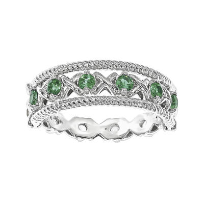 Personally Stackable Lab-Created Emerald and White Sapphire Sterling Silver Stackable Flip Ring