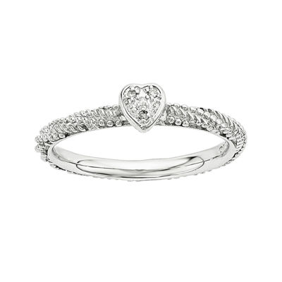 Personally Stackable Diamond-Accent Sterling Silver Stackable Textured Heart Ring