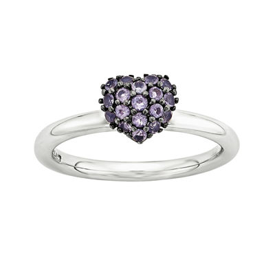 Personally Stackable Genuine Amethyst Sterling Silver Stackable Heart Ring