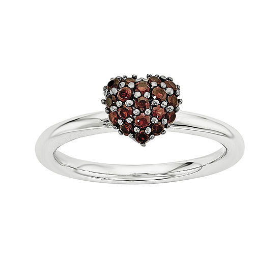 Personally Stackable Genuine Garnet Sterling Silver Stackable Heart Ring