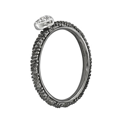 Personally Stackable Diamond-Accent Ruthenium Over Sterling Silver Stackable Heart Ring