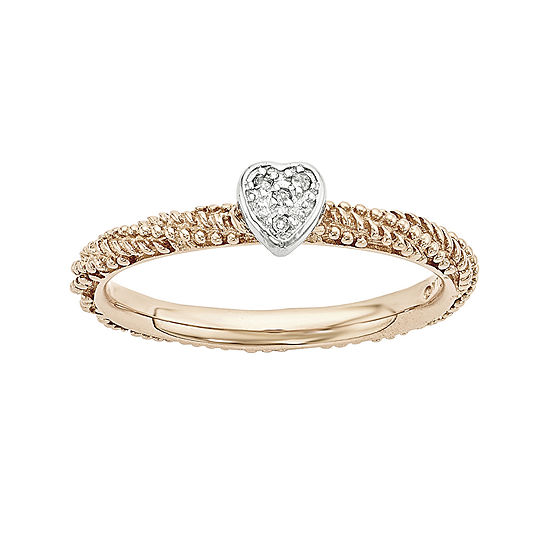 Personally Stackable Diamond Accent 18k Rose Gold Over Silver Stackable Heart Ring