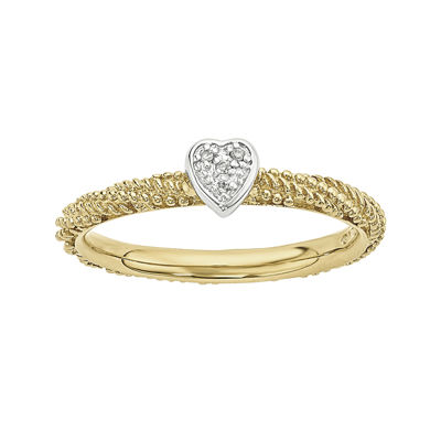 Personally Stackable Diamond-Accent 18K Yellow Gold Over Sterling Silver Stackable Heart Ring