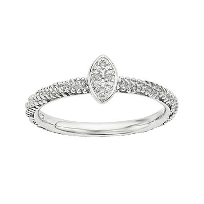 Personally Stackable Diamond-Accent Sterling Silver Stackable Textured Ring