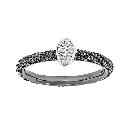 Personally Stackable Diamond-Accent Sterling Silver Stackable Ring