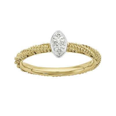 Personally Stackable Diamond-Accent 18K Yellow Gold Over Sterling Silver Stackable Ring