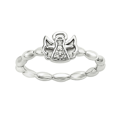 Personally Stackable Diamond-Accent Sterling Silver Stackable Angel Ring