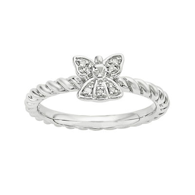 Diamond-Accent Sterling Silver Stackable Angel Ring