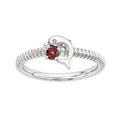 Genuine Garnet and Diamond-Accent Sterling Silver Stackable Dolphin Ring