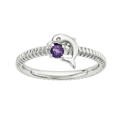 Genuine Amethyst and Diamond-Accent Sterling Silver Stackable Dolphin Ring