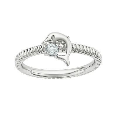 Genuine Aquamarine and Diamond-Accent Sterling Silver Stackable Dolphin Ring