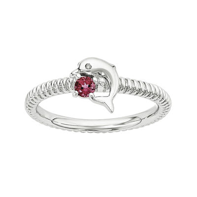 Lab-Created Ruby and Diamond-Accent Sterling Silver Stackable Dolphin Ring
