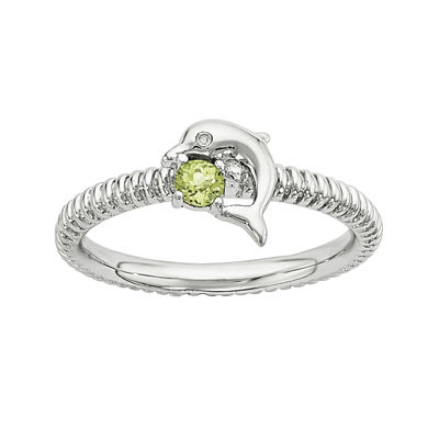 Genuine Peridot and Diamond-Accent Sterling Silver Stackable Dolphin Ring