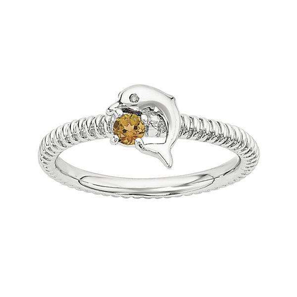 Genuine Citrine and Diamond-Accent Sterling Silver Stackable Dolphin Ring