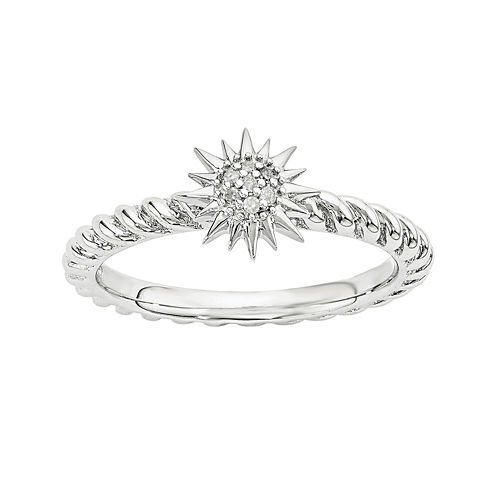 Diamond-Accent Sterling Silver Stackable Star Ring