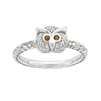 Genuine Garnet and Diamond-Accent Sterling Silver Stackable Owl Ring