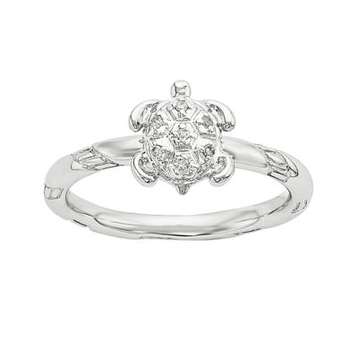 Diamond-Accent Sterling Silver Stackable Turtle Ring