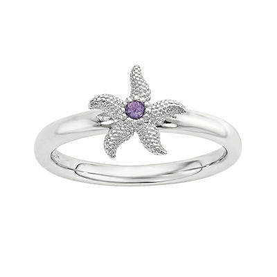 Genuine Amethyst Sterling Silver Stackable Starfish Ring