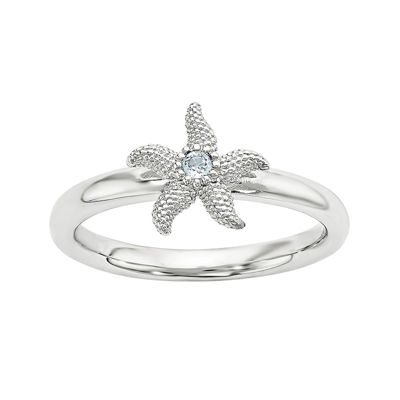 Genuine Blue Topaz Sterling Silver Stackable Starfish Ring