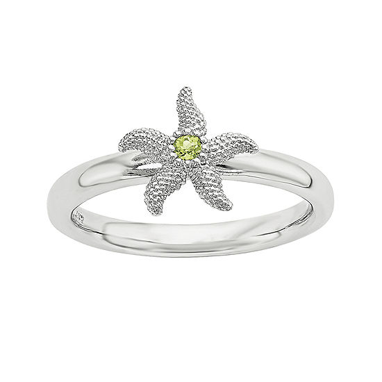 Sterling Silver Stackable Genuine Peridot Starfish Ring